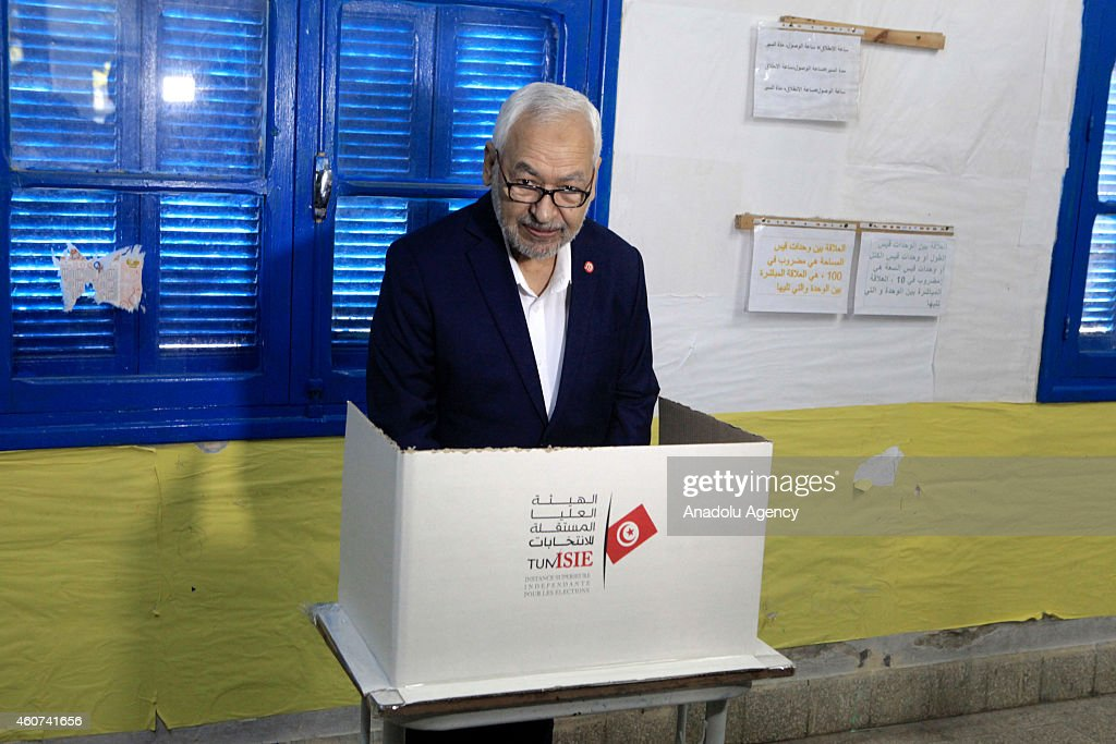 Rashid al-Ghannushi leader of Ennahda Movement casts his vote at Nahc al-Keyrevan school during the second round of Tunisia's presidential election in Ben Arous, Tunis on December 21, 2014.