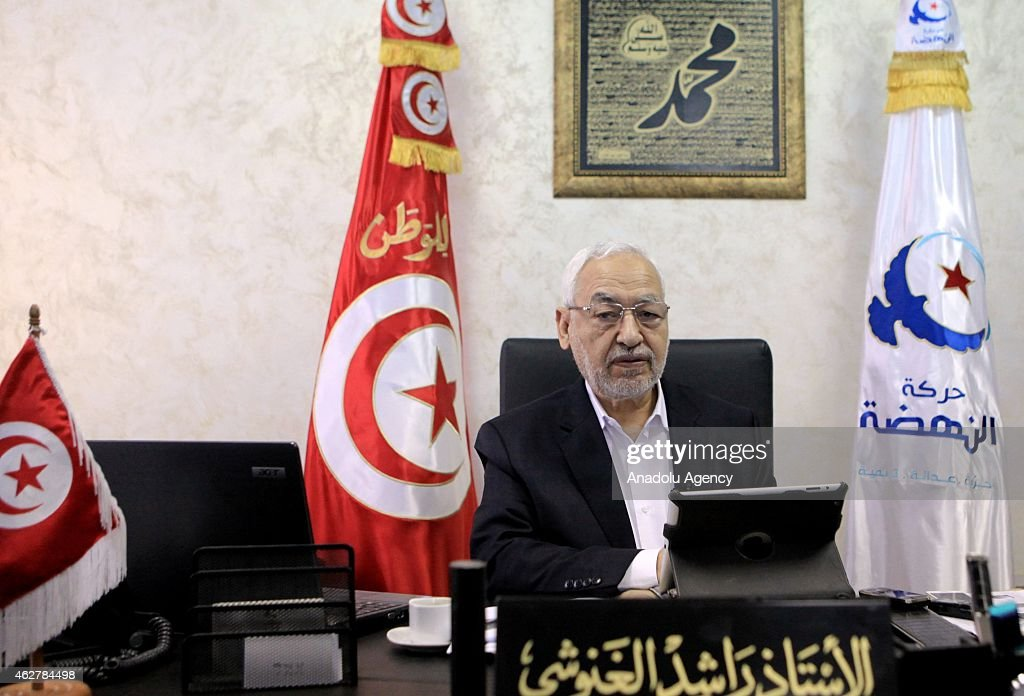 Rashid al-Ghannushi leader of Ennahda Movement speaks to the press about death of Jordanian pilot Moaz al-Kassasbeh in Tunis, Tunisia on February 5, 2015.