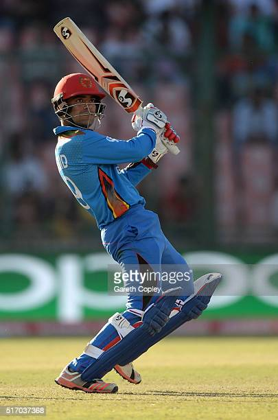 Rashid Khan of Afghanistan bats during the ICC World Twenty20 India 2016 Group 1 match between England and Afghanistan at Feroz Shah Kotla Ground on...