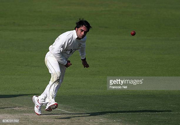 Rashid Khan of Afghanistan bowls during day one of the tour match between England Lions and Afghanistan at Zayed Cricket Stadium on December 7 2016...