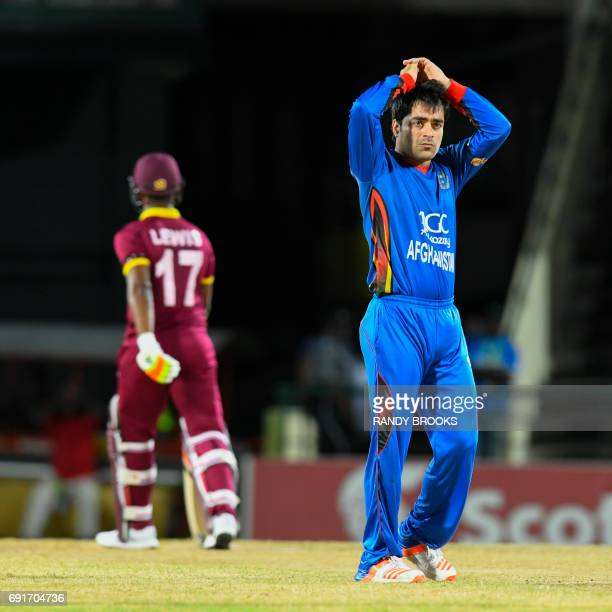 Rashid Khan of Afghanistan express disappointment during the 1st T20i match between West Indies and Afghanistan at Warner Park Basseterre St Kitts...