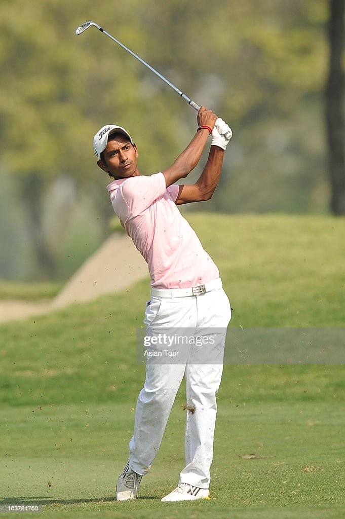 Rashid Khan of India in action during day 3 of the Avantha Masters at Jaypee Greens Golf Course on March 16, 2013 in Noida, India.