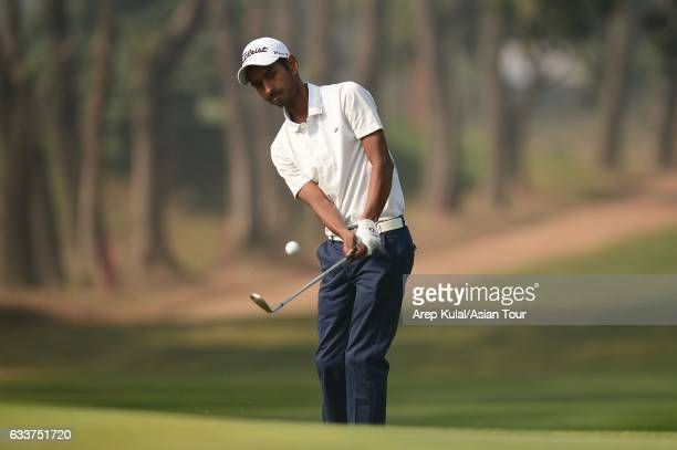 Rashid Khan of India in action during round four of the Bashundhara Bangladesh Open at Kurmitola Golf Club on February 4 2017 in Dhaka Bangladesh