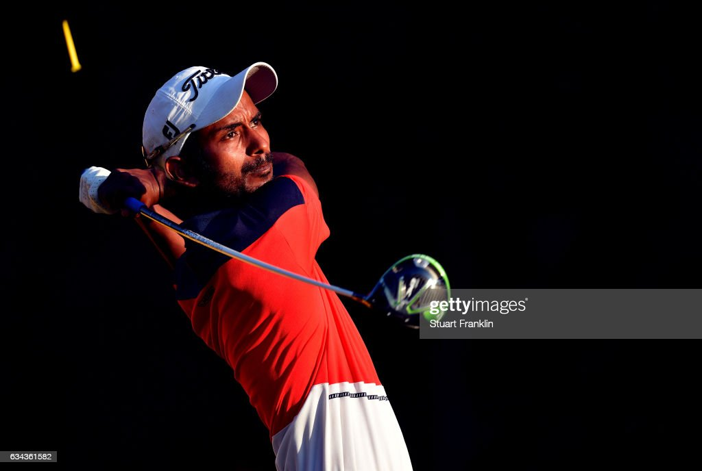 Rashid Khan of India plays a shot during Day One of the Maybank Championship Malaysia at Saujana Golf Club on February 9, 2017 in Kuala Lumpur, Malaysia.
