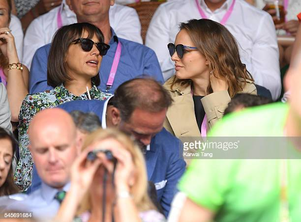 Rashida Jones and Natalie Portman attend the women's final of the Wimbledon Tennis Championships between Serena Williams and Angelique Kerber at...
