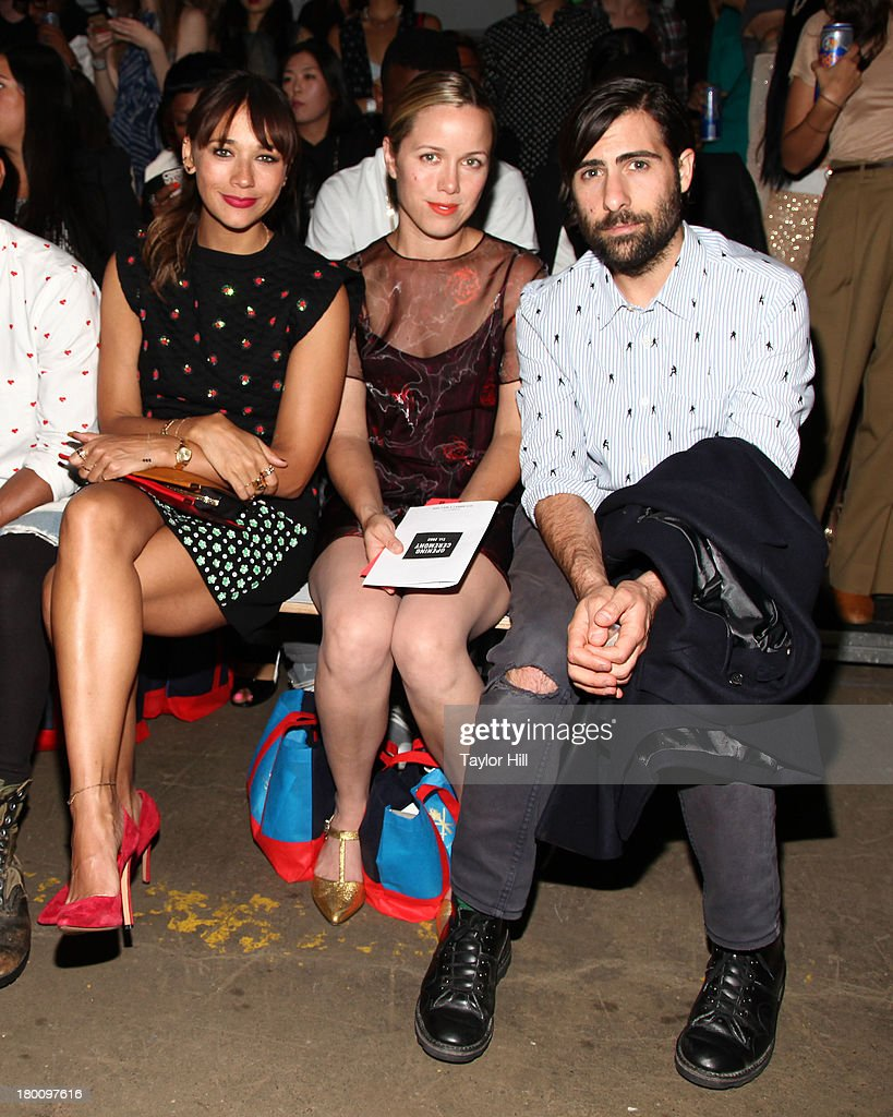 <a gi-track='captionPersonalityLinkClicked' href=/galleries/search?phrase=Rashida+Jones&family=editorial&specificpeople=2133481 ng-click='$event.stopPropagation()'>Rashida Jones</a>, Brady Cunningham and <a gi-track='captionPersonalityLinkClicked' href=/galleries/search?phrase=Jason+Schwartzman&family=editorial&specificpeople=216351 ng-click='$event.stopPropagation()'>Jason Schwartzman</a> attends the Opening Ceremony Spring 2014 fashion show at on September 8, 2013 in New York City.