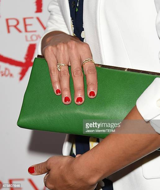 Rashida Jones fashion detail attends the Halle Berry lunch celebration for Women Cancer Research at Four Seasons Hotel Los Angeles at Beverly Hills...