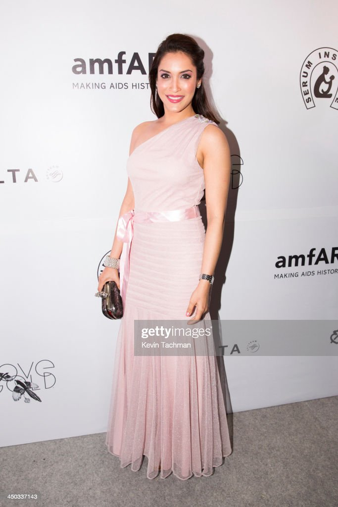 Rashmi Nigam attends the inaugural amfAR India event at the Taj Mahal Palace Mumbai on November 17, 2013 in Mumbai, India.