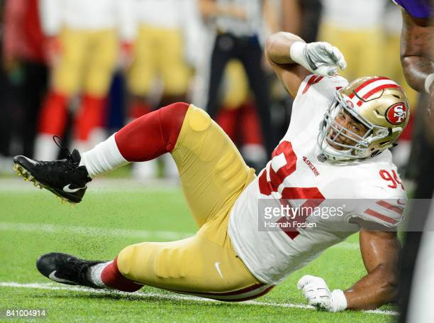 Rashod Hill of the Minnesota Vikings blocks Solomon Thomas of the San Francisco 49ers in the preseason game on August 27 2017 at US Bank Stadium in...