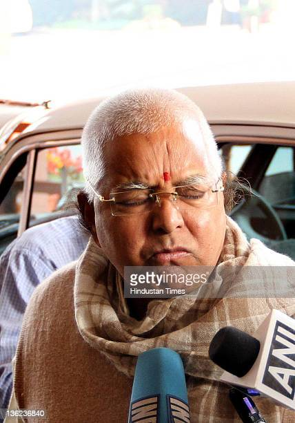 Rashtriya Janta Dal President Lalu Prasad Yadav at Parliament House during the ongoing parliamentary winter session on December 29 2011 in New Delhi...
