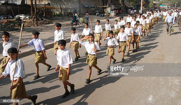 Rashtriya Swayamsevak Sangh Youth volunteers conducted 'Path Sanchalan' procession in Allahabad
