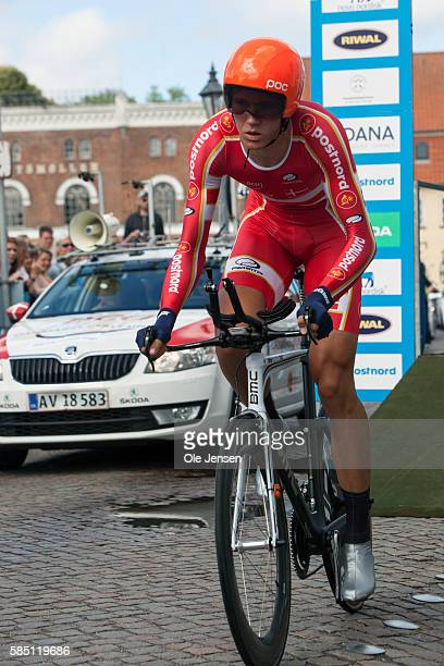 Rasmus Boegh Wallin from Denmark riding for Teram PostNord Danmark begins his Time Trial race in the PostNord Tour of Denmark in Nyborg Denmark on...