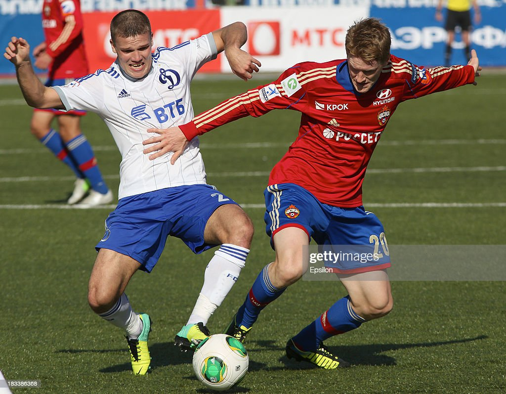 Rasmus Elm of PFC CSKA Moscow is challenged by Igor Denisov of FC Dinamo Moscow during the Russian Premier League match between PFC CSKA Moscow and FC Dinamo Moscow on October 6, 2013 in Moscow, Russia. (Photo b /Epsilon/Getty Images)***Rasmus Elm;Igor Denisov