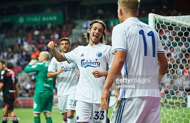 Rasmus Falk and Andreas Cornelius of FC Copenhagen celebrate during the UEFA Champions League qualifier match between FC Copenhagen and Crusaders FC...