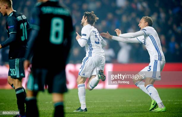 Rasmus Falk and Ludvig Augustinsson of FC Copenhagen celebrate after scoring their first goal during the UEFA Europa League Round of 16 First Leg...
