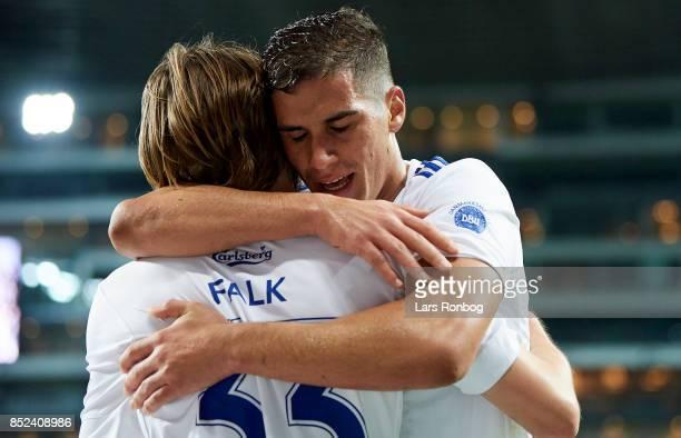Rasmus Falk and Pieros Sotiriou of FC Copenhagen celebrate after scoring their fourth goal during the Danish Alka Superliga match between FC...