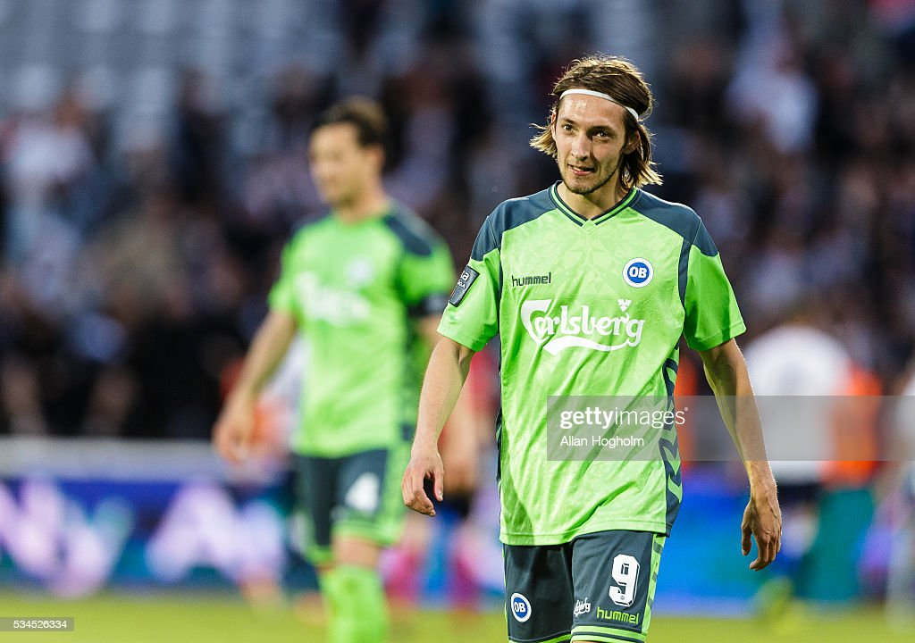 <a gi-track='captionPersonalityLinkClicked' href=/galleries/search?phrase=Rasmus+Falk&family=editorial&specificpeople=8043045 ng-click='$event.stopPropagation()'>Rasmus Falk</a> Jensen of OB looks dejected during the Danish Alka Superliga match between AGF Aarhus and OB Odense at Ceres Park on May 26, 2016 in Aarhus, Denmark.
