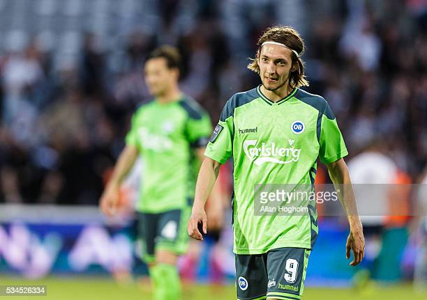 Rasmus Falk Jensen of OB looks dejected during the Danish Alka Superliga match between AGF Aarhus and OB Odense at Ceres Park on May 26 2016 in...
