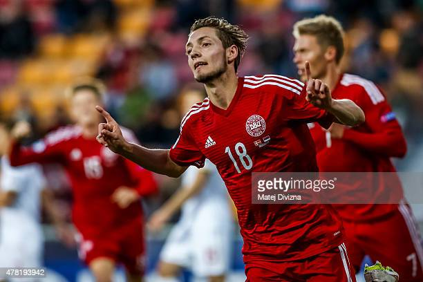 Rasmus Falk of Denmark celebrates goal with his teammates during UEFA U21 European Championship Group A match between Denmark and Serbia at Letna...