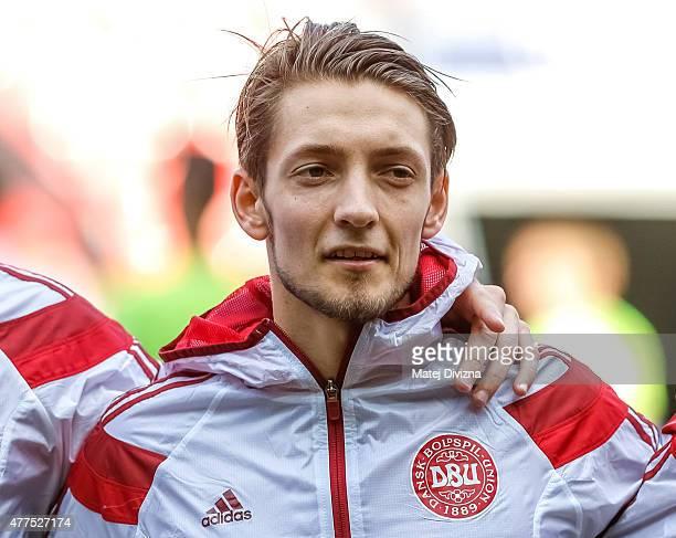 Rasmus Falk of Denmark sings national anthem before UEFA U21 European Championship Group A match between Czech Republic and Denmark at Eden Stadium...
