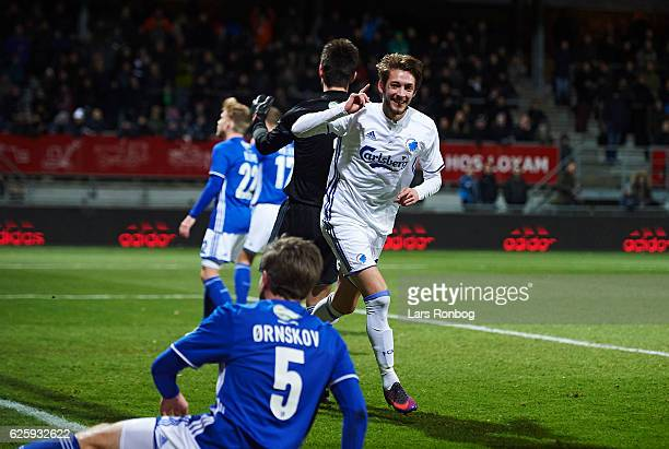 Rasmus Falk of FC Copenhagen celebrates after scoring their first goal during the Danish Alka Superliga match between Lyngby Boldklub and FC...