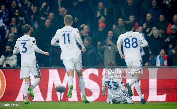 Rasmus Falk of FC Copenhagen celebrates after scoring their first goal during the UEFA Europa League Round of 16 First Leg match between FC...