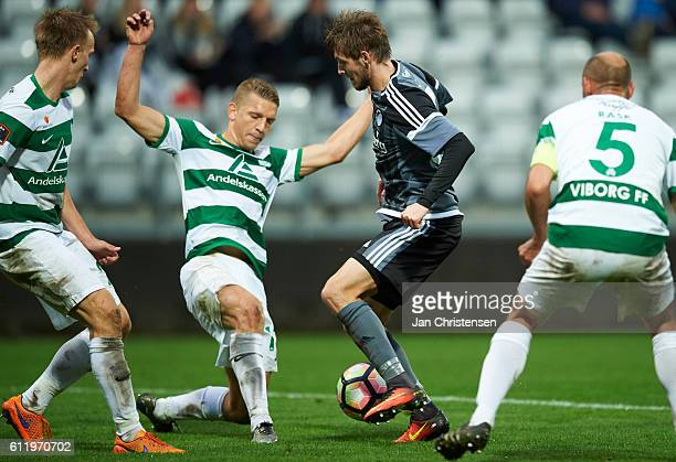Rasmus Falk of FC Copenhagen compete for the ball during the Danish Alka Superliga match between Viborg FF and FC Copenhagen at Energi Viborg Arena...