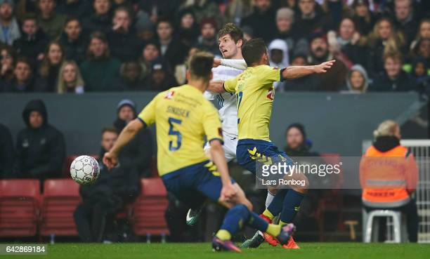 Rasmus Falk of FC Copenhagen Frederik Holst of Brondby IF and Gregor Sikosek of Brondby IF com$ the Danish Alka Superliga match between FC Copenhagen...