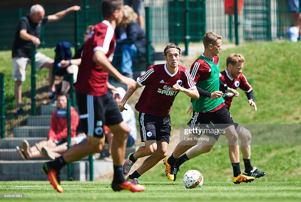 <a gi-track='captionPersonalityLinkClicked' href=/galleries/search?phrase=Rasmus+Falk&family=editorial&specificpeople=8043045 ng-click='$event.stopPropagation()'>Rasmus Falk</a> of FC Copenhagen in action during the FC Copenhagen training session at KB's baner on June 27, 2016 in Frederiksberg, Denmark.