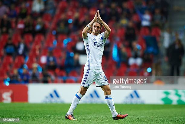 Rasmus Falk of FC Copenhagen leaves the pitch and applause the fans during the Danish Alka Superliga match between FC Copenhagen and FC Midtjylland...
