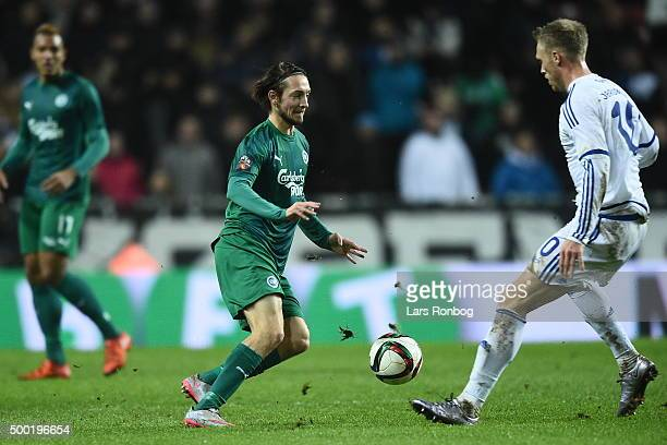 Rasmus Falk of OB Odense and Nicolai Jorgensen of FC Copenhagen compete for the ball during the Danish Alka Superliga match between FC Copenhagen and...
