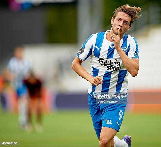 Rasmus Falk of OB Odense celebrate after his 11 goal during the danish Superliga match between OB Odense and AaB Aalborg at TREFOR Park on August 02...