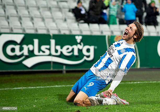 Rasmus Falk of OB Odense celebrates after the 21 goal against Goalkeeper Martin Dubravka of Esbjerg fB during the Danish Alka Superliga match between...