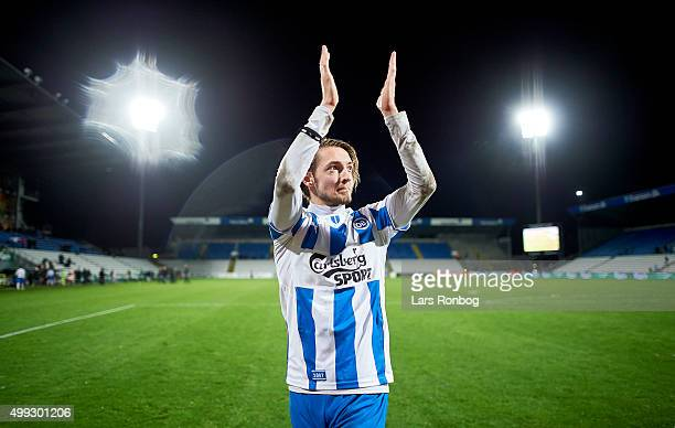 Rasmus Falk of OB Odense celebrates after the Danish Alka Superliga match between OB Odense and Esbjerg fB at TreFor Park on November 30 2015 in...