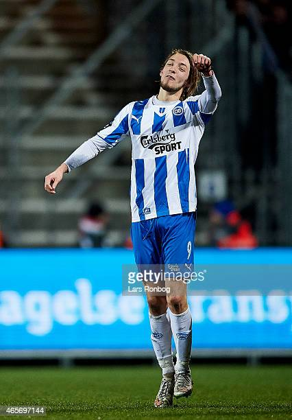 Rasmus Falk of OB Odense celebrates their victory after the Danish Alka Superliga match between FC Vestsjalland and OB Odense at Harboe Arena...