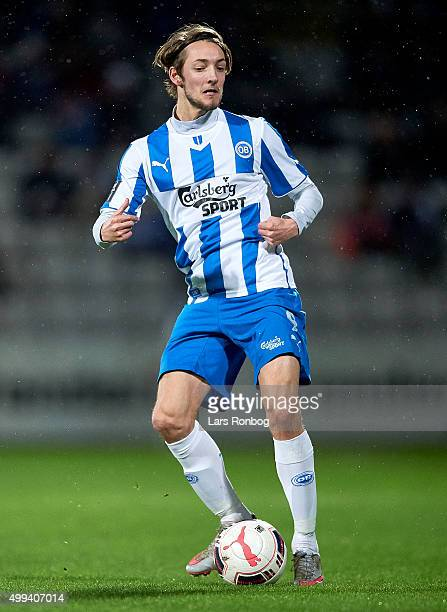 Rasmus Falk of OB Odense controls the ball during the Danish Alka Superliga match between OB Odense and Esbjerg fB at TreFor Park on November 30 2015...