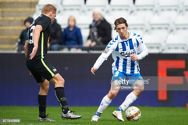 Rasmus Falk of OB Odense controls the ball during the Danish Alka Superliga match between OB Odense and Viborg FF at TREFOR Park on April 17 2016 in...