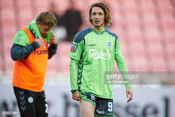Rasmus Falk of OB Odense looks dejected after the Danish Alka Superliga match between FC Midtjylland and OB Odense at MCH Arena on April 22 2016 in...