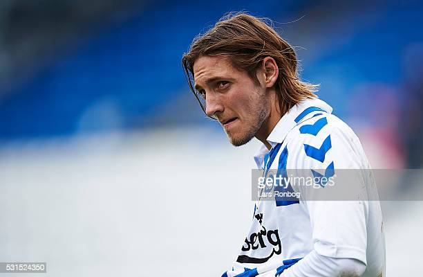 Rasmus Falk of OB Odense looks dejected after the Danish Alka Superliga match between OB Odense and Hobro IK at TreFor Park on May 15 2016 in Odense...