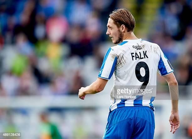 Rasmus Falk of OB Odense looks on during the Danish Alka Superliga match between OB Odense and Viborg FF at TreFor Park on September 19 2015 in...
