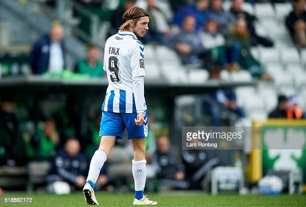 Rasmus Falk of OB Odense looks on during the Danish Alka Superliga match between OB Odense and Randers FC at TreFor Park on April 3 2016 in Odense...