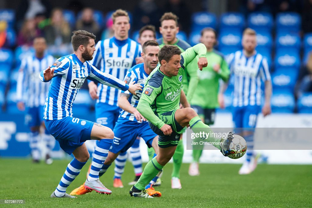 Rasmus Festersen of OB Odense compete for the ball during the Danish Alka Superliga match between Esbjerg fB and OB Odense at Blue Water Arena on May 02, 2016 in Esbjerg, Denmark.