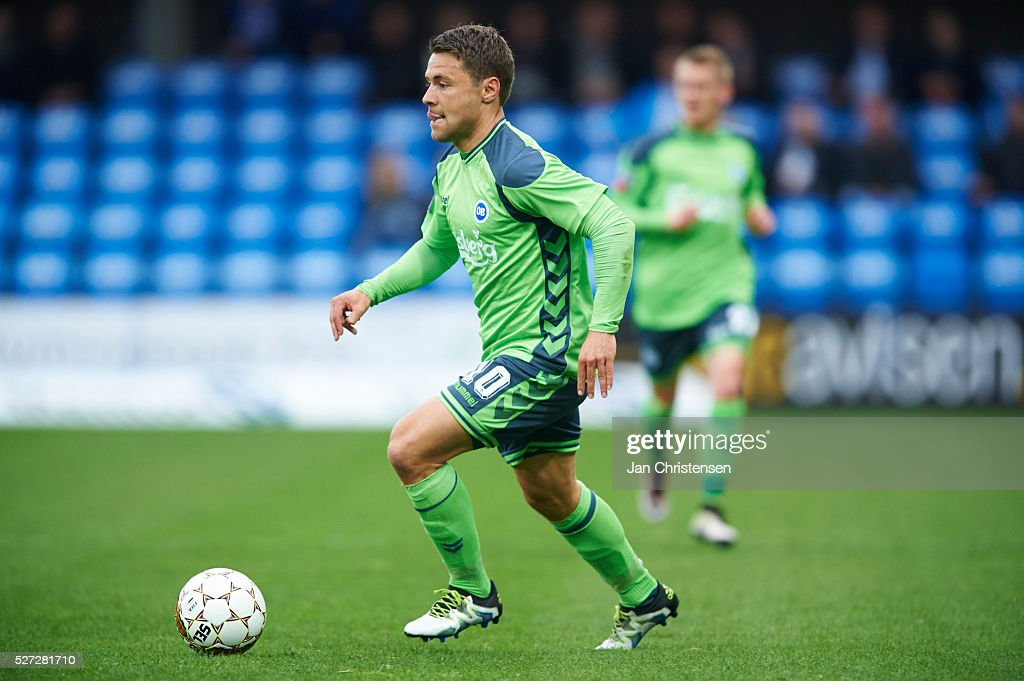 Rasmus Festersen of OB Odense controls the ball during the Danish Alka Superliga match between Esbjerg fB and OB Odense at Blue Water Arena on May 02, 2016 in Esbjerg, Denmark.