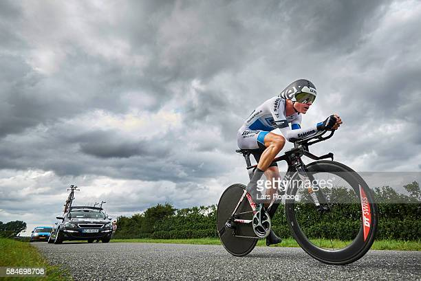 Rasmus Guldhammer of Stolting Service Group in action during stage four at the Postnord Danmark Rundt race time trial in Nyborg on July 30 2016 in...