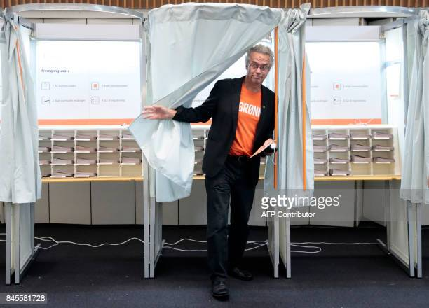 Rasmus Hansson leader of Norway's Green Party leaves a polling booth as he votes at a polling station in Bekkestua Oslo during general elections on...