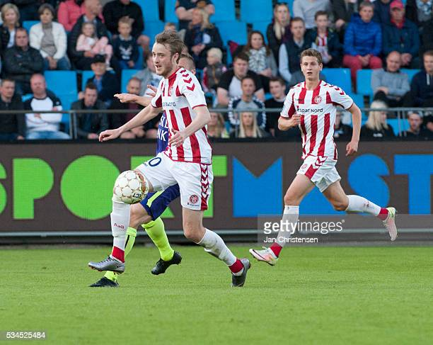 Rasmus Jönsson of AaB Aalborg controls the ball during the Danish Alka Superliga match between AaB Aalborg and FC Midtjylland at Nordjyske Arena on...