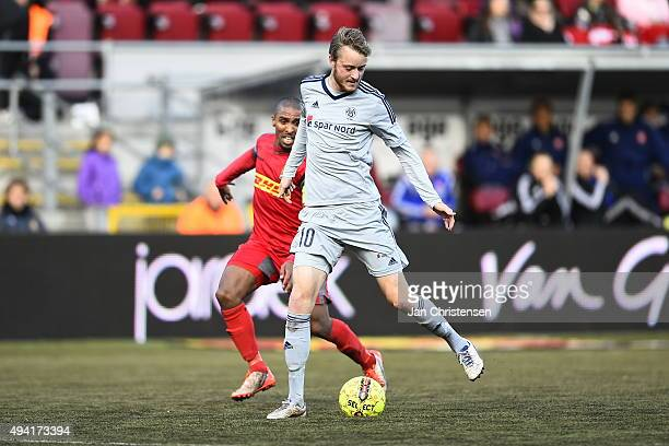 Rasmus Jonsson of AaB Aalborg compete for the ball during the Danish Alka Superliga match between FC Nordsjalland and AaB Aalborg at Farum Park on...