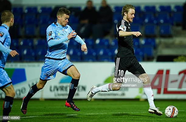 Rasmus Jonsson of AaB Aalborg controls the ball during the Danish Alka Superliga match between Randers FC and AaB Aalborg at AutoC Park Randers on...