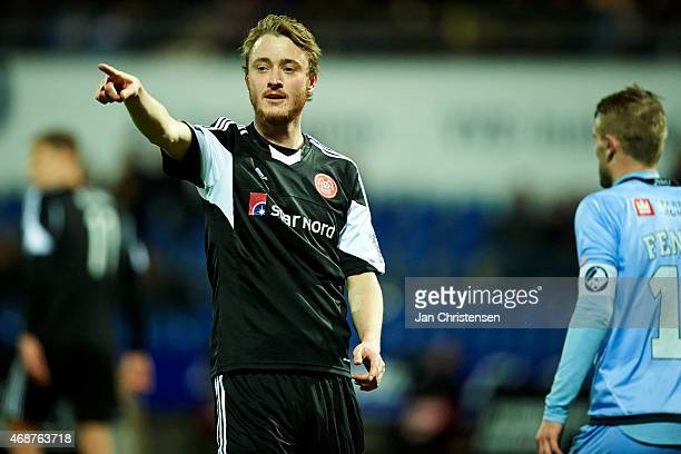 Rasmus Jonsson of AaB Aalborg gives instructions during the Danish Alka Superliga match between Randers FC and AaB Aalborg at AutoC Park Randers on...