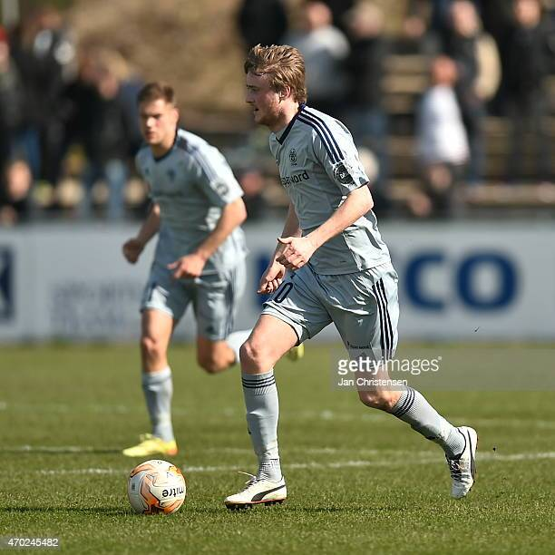 Rasmus Jonsson of AaB Aalborg in action during the Danish Alka Superliga match between FC Vestsjalland and AaB Aalborg at Harboe Arena Slagelse on...